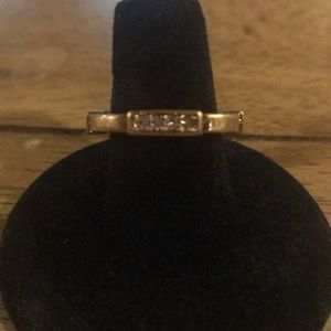 Gold Square and Crystal Ring